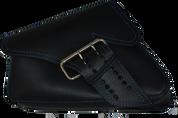 04-UP Harley-Davidson Sportster Left Side Saddle Bag LA FONDINA - Black (Blue Thread)