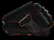 04-UP Harley-Davidson Sportster Left Side Saddle Bag LA FONDINA - Black (Orange Thread) with Spare Fuel Bottle