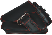 04-UP Harley-Davidson Sportster Left Side Saddle Bag LA FONDINA - Black (Red Thread) with Spare Fuel Bottle