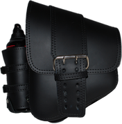 La Rosa Harley-Davidson All Softail Models Left Side Saddle Bag  Swingarm Bag Black Front Wide Strap with Fuel Bottle Holder