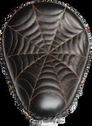 "Harley Chopper Bobber 13"" Bad Ass Solo Seat Black Orange Spider Web Tuck"