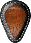 "Harley Chopper Bobber 13"" Hard Ass Solo Seat Alligator Brown Plain"