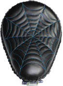 "Harley Chopper Bobber 13"" baSICK Solo Seat Black  Blue Spider Web Tuck"