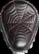 "Harley Chopper Bobber 13"" baSICK Solo Seat Black Red  Spider Web Tuck"