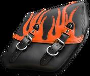 04-UP Harley-Davidson Dyna Wide Glide FXR Right Side Solo Saddle Bag Black Plain Orange Leather Flame Overlay