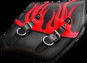 04-UP Harley-Davidson Dyna Wide Glide FXR Right Side Solo Saddle Bag Black Plain Red Leather Flame Overlay