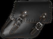 04-UP Harley-Davidson Dyna Wide Glide FXR Right Side Solo Saddle Bag Black Cross Laced Orange Thread