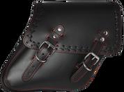04-UP Harley-Davidson Dyna Wide Glide FXR Right Side Solo Saddle Bag Black Cross Laced Red Thread