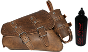 04-UP Harley-Davidson Sportster  Nightster 1200   Forty-Eight 72    Roadster Left Side Saddle Bag Swingarm Bag - Rustic Brown Cross Lace w/ Spare Fuel Bottle