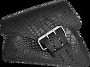 04-UP Harley-Davidson Sportster Left Side Saddle Bag LA FONDINA - Black Alligator