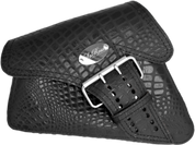 04-UP Harley-Davidson Sportster Left Side Saddle Bag LA FONDINA - Black Alligator w/ Steel Emblem