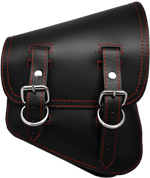 La Rosa Harley-Davidson All Softail Models Right Side Solo Saddle Bag   Swingarm Bag Black Plain Red Thread