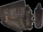 La Rosa Harley-Davidson All Softail Models Right Side Saddle Bag   Swingarm Bag Rustic Brown w/ Spare Fuel Bottle Holder