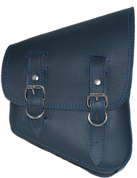 La Rosa Harley-Davidson All Softail Models Right Side Solo Saddle Bag   Swingarm Bag Blue Leather - Blue Thread