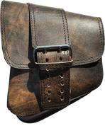 La Rosa Harley-Davidson All Softail Models Left Side Solo Saddle Bag   Swingarm Bag Rustic Brown Front Wide Strap