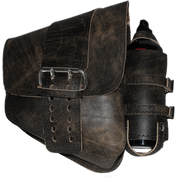 La Rosa Harley-Davidson All Softail Models Right Side Solo Saddle Bag   Swingarm Bag Rustic Black Front Wide Strap with Fuel Bottle Holder