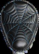 """13"""" Classic Solo Seat -  Black Spiderweb Tuck / Blue Thread"""