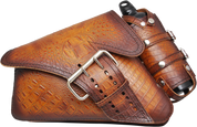 04-UP Harley-Davidson Sportster Left Side Saddle Bag LA FONDINA - Antique Brown Alligator w/ Spare Fuel Bottle Holder