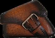 04-UP Harley-Davidson Sportster Left Side Saddle Bag LA FONDINA - Antique Brown Alligator