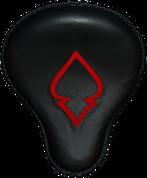 "16"" Cross Bones Solo Seat Black / Red Inlay Spade"