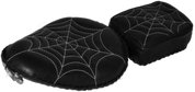 "Harley Chopper Bobber 13"" Bad Ass Solo Seat & Passenger Pad Black White Spider Web Tuck"