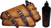 04-UP Harley-Davidson Sportster Nightster 1200   Forty-Eight 72 XL Left Side Saddle Bag Swingarm Bag - Antique Tan w/ Spare Fuel Bottle Holder
