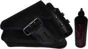 04-UP Harley-Davidson Sportster Left Side Saddle Bag LA FONDINA - Black (Blue Thread) with Spare Fuel Bottle