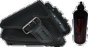 04-UP Harley-Davidson Sportster Left Side Saddle Bag LA FONDINA - Black (White Thread) with Spare Fuel Bottle