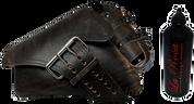 04-UP Harley-Davidson Sportster Left Side Saddle Bag LA FONDINA - Rustic Black with Spare Fuel Bottle Holder