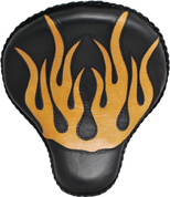 """17"""" Classic Solo Seat - Black with Tan Flame Inlay"""