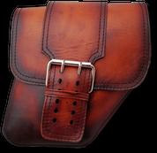 04-UP Harley-Davidson Dyna Wide Glide FXR Right Side Solo Saddle Bag Antique Shedron with Wide Strap