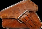 04-UP Harley-Davidson Sportster Left Side Saddle Bag LA FONDINA - Brown Alligator