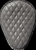 "Harley Chopper Bobber 13"" Bad Ass Black Leather Solo Seat Gray Leather Diamond Tuk"