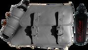 1982-2003 Harley Davidson Sportster Right Side Solo Saddle Bag Gray Leather Spare Fuel Bottle Holder