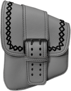 La Rosa Harley-Davidson All Softail Models Left Side Solo Saddle Bag   Swingarm Bag White Leather Front Wide Strap - with Black Thread and Crosslace