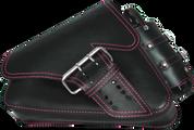 04-UP Harley-Davidson Sportster Left Side Saddle Bag LA FONDINA - Black (Pink Thread) with Spare Fuel Bottle