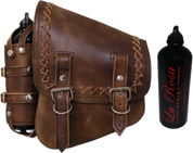 All Softail Models Left Side Solo Saddle Bag Rustic Brown Cross Laced with Spare Fuel Bottle Holder