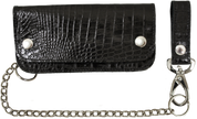 Heavy Black Alligator Leather Hand-Made Biker Wallet with Chain