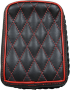 Universal Rear Passenger Pillion Pad -  Black Diamond Tuk with Red Accents