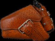 04-UP Harley-Davidson Sportster Left Side Saddle Bag LA FONDINA - Brown Alligator w/ Spare Fuel Bottle Holder