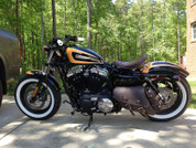 04-UP Harley Davidson Sportster   Nightster 1200   Forty-Eight 72 All H-D XL Left Side Rustic Brown Leather Bolt-On Saddle Bag Swingarm Bag with Spare Fuel Bottle Holder