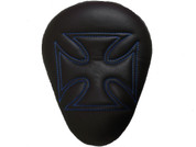 "Chopper Bobber 13"" Eliminator Solo Seat Black Cross with Blue Stitches"