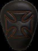 "La Rosa Harley-Davidson Sportster/Softail/Dyna/Touring Bikes Chopper Bobber 13"" Eliminator Solo Seat Black Cross with Orange Stitches"