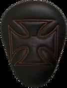"Chopper Bobber 13"" Eliminator Solo Seat Black Cross with Orange Stitches"