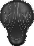 "La Rosa Harley-Davidson Sportster/Softail/Dyna/Touring Bikes Chopper Bobber 16"" Eliminator Solo Seat Black with White Flames"