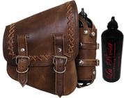 Copy of All Softail Models Right Side Solo Saddle Bag Rustic Brown Cross Laced with Fuel Bottle Holder