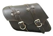All H-D XL Left Side Classic Rustic Black Leather Bolt-On Saddle Bag