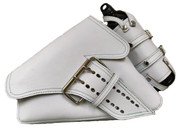 04-UP Harley-Davidson Sportster Left Side  Saddle Bag La Fondina-White Leather with Spare Fuel Bottle Holder