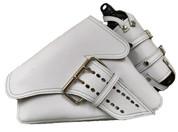 04-UP Harley-Davidson Sportster Left Side  Saddle Bag La Fondina-White Leather with Spare Fuel Bottle Holder