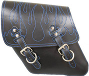 96-UP Harley Davidson Dyna Wide Glide FXR Left Side Solo Saddle Bag with Blue Stitched Flame